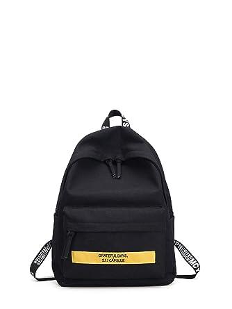 425fe144b44f Men s Black Casual Men Slogan Print Canvas Backpack  Amazon.com.au ...