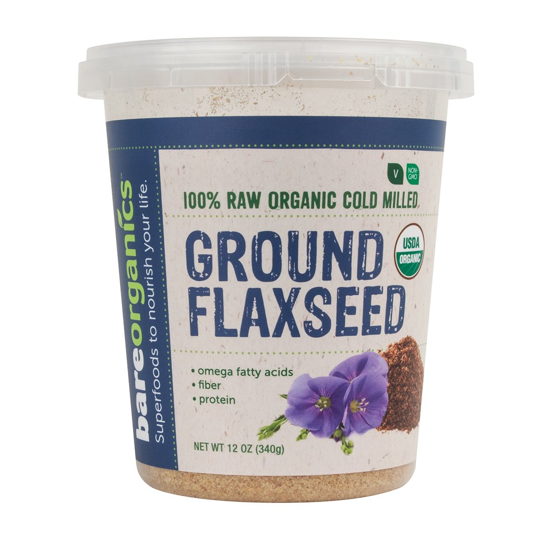 BareOrganics Cold Milled Ground Flaxseed, 12 Ounce