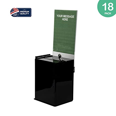 for Counter top Use Clear Mini Ballot Box with 5x7 Sign Frame