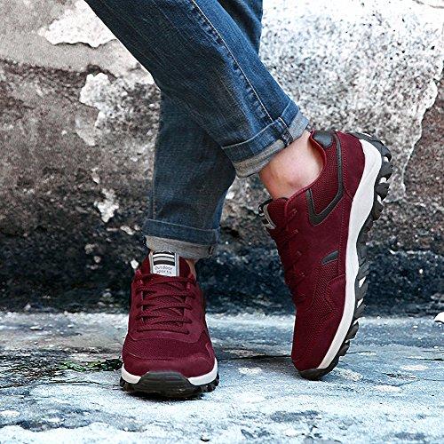 Ben Sports Calzado de correr en montaña de hombre Zapatillas de Zapatos de cordones Calzado deportivo rojo