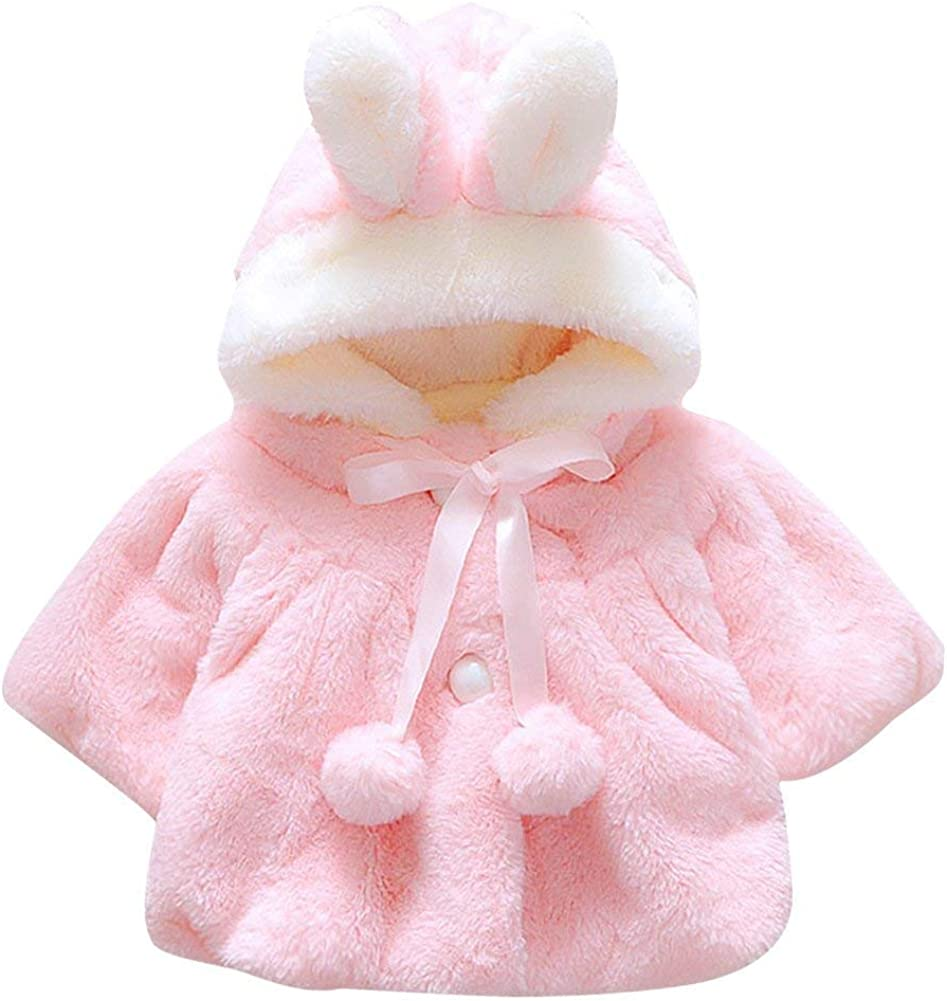 Happy childhood Baby Girls Infant Fleece Hooded Fall Winter Coat Cloak Jacket Thick Warm Clothes with Bag