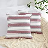 NATUS WEAVER Burgundy Pure White Striped Throw Cushion Faux Linen Home Decorative Hand Made Pillow Case Cushion Cover For Naps, 18 x 18 inch, 2 Pieces