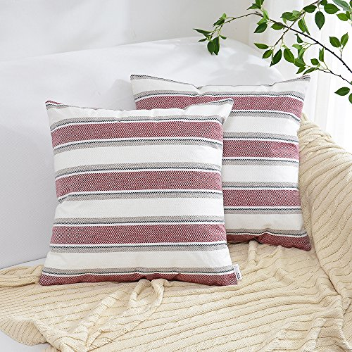 (NATUS WEAVER 2 Pack Decor Burgundy Pure White Stripe Lined Linen Burlap Square Throw Cushion Cover Sham Euro Pillowcase with Hidden Zipper, 18