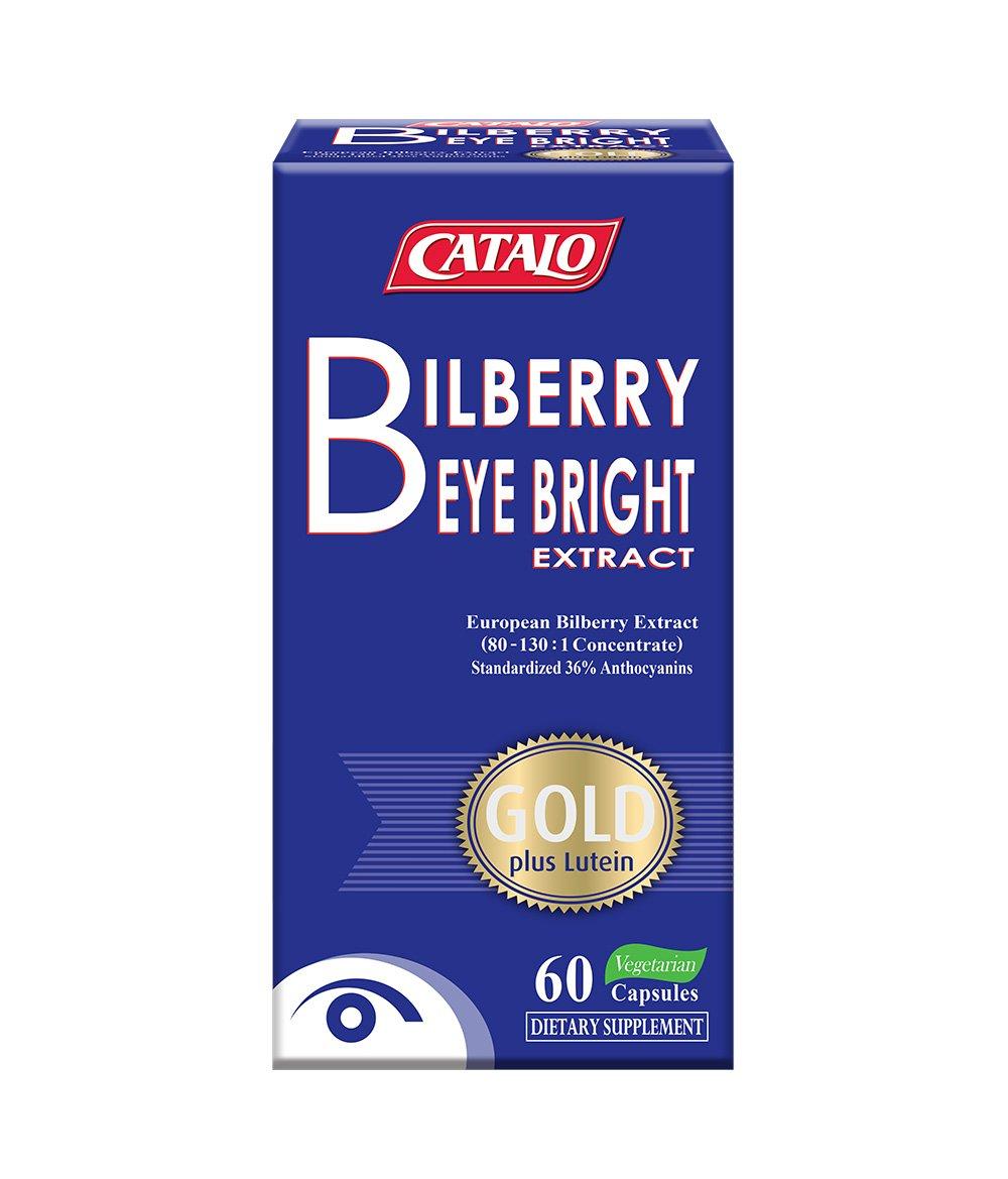 CATALO - Bilberry Eyebright Extract Gold, Bilberry Supplement for Eyes, Relief Eye Fatigue, Bilberry Extract, Lutein and Zeaxanthin from Marigold Extract, 60 Capsules