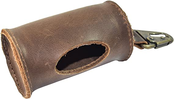 Durable Thick Leather Dog Poop Bag Dispenser with Belt Attachment Handmade Old Tobacco