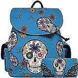 Halloween Sugar Skull Backpack Punk School Bag Travel Daypack Biker Purse Shoulder Women Wallet Set Turq