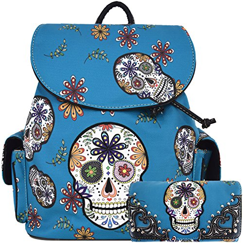 (Sugar Skull Day of the Dead Daypack Concealed Carry Backpack Fashion Women Travel Biker Purse Wallet Set (Turquoise Set))