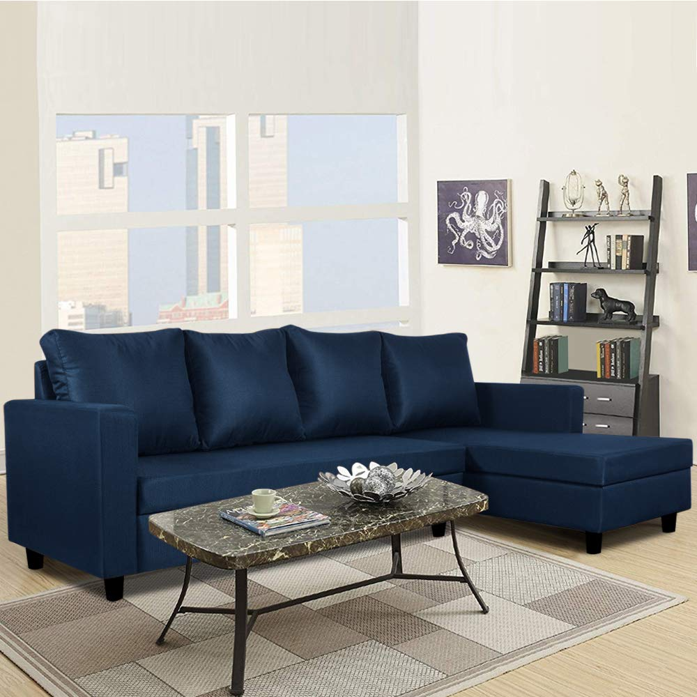 Sunuzu Francis Five Seater RHS L Shape Sofa (Dark Blue)