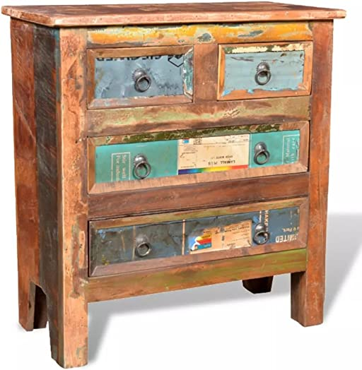 vidaXL Reclaimed Wood Cabinet with Drawers Sideboard Unit Chest with 4 Drawers Vintage