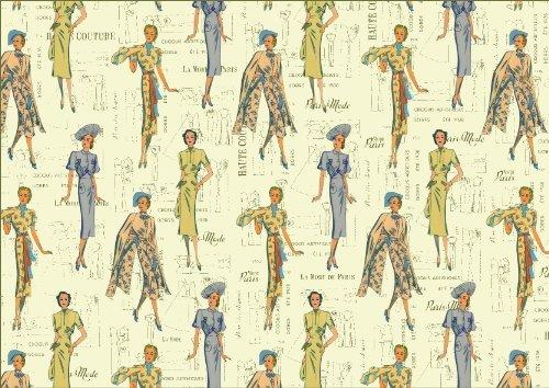 Rossi Decorative Paper- Haute Couture Vintage Fashion Illustrations 28x40 Inch (Vintage Haute Couture)