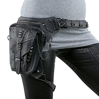 50f0fbf7d0 Image Unavailable. Image not available for. Color  UIYTR Black Gothic Rock  PU Leather Steampunk Handbag Waist Pack ...