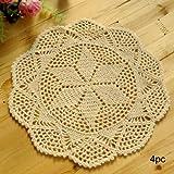 kilofly Crochet Cotton Lace Table Placemats Doilies Value Pack, 4pc, Hexa, Beige, 12 inch