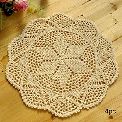 kilofly Crochet Cotton Lace Table Placemats Doilies Value Pack, 4pc, Hexa, Beige, 12 inch - Material - Cotton, washable and reusable Handmade knitted lace and centered hexagram design in medium size - Harmonious with larger dishes or other tabletop items Use as placemats or ideal for dressing up your serving tray - placemats, kitchen-dining-room-table-linens, kitchen-dining-room - 618Y%2BH7YBmL. SS400  -