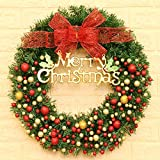 Kyerivs 24 Inch Christmas Wreath Door Wall Ornament Artificial Garland with Red Berries and Bowknot Bells Gifts for Christmas Party Deco