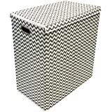 Sorbus Laundry Hamper Sorter with Lid Closure – Foldable Double Hamper, Detachable Lid and Divider, Built-In Handles for Easy Transport - Double Chevron Pattern (Grey Interior)