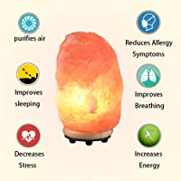 Himalayan Salt Lamp Pink Salt Rock Lamp Natural Salt Crystal Lamp Night Light with Wood Base Bulb and On and Off Switch 4 to 6 lbs Best Gift Idea