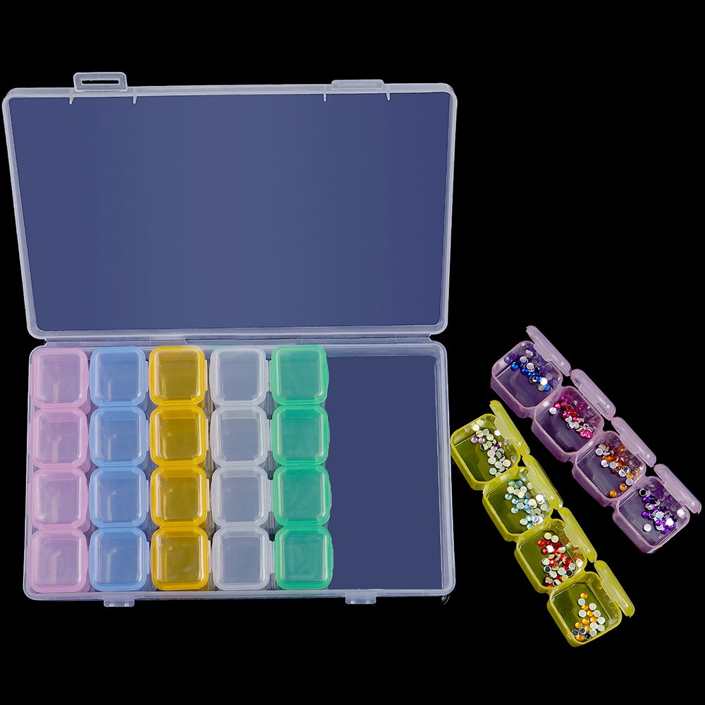 Colorful INFELING 2 Packs 28 Slots Diamond Embroidery Box Diamond Painting Accessories Cross Stitch Tools Storage Case for DIY Craft 6.1x4.7 in