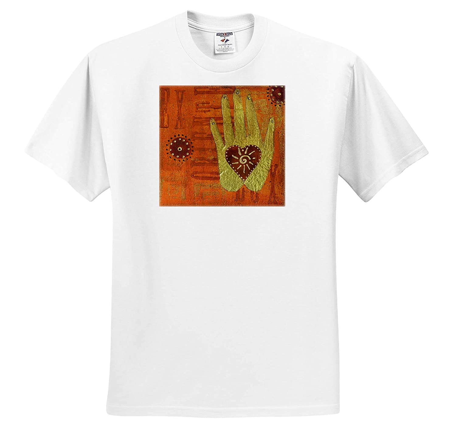 3dRose Andrea Haase Art Illustration Mixed Media Collage Art Painting with Sun and Heart Symbol T-Shirts