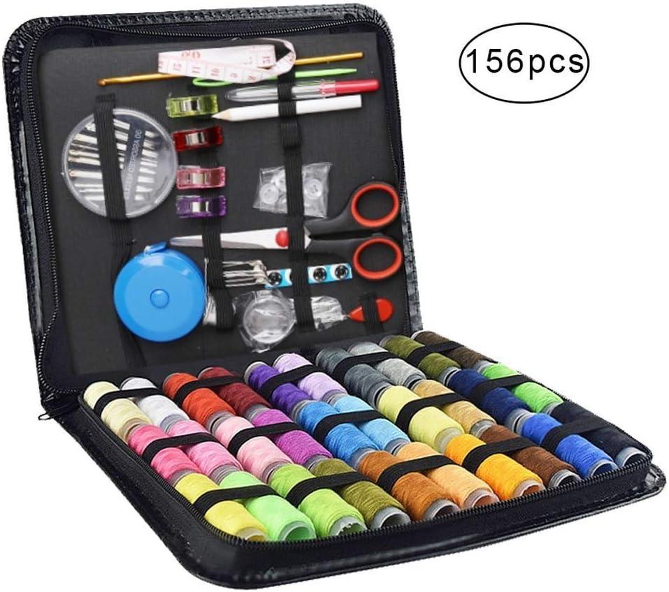 Kit de costura Kuou 156 piezas, suministros de costura premium, mini accesorios de costura con funda de poliuretano para principiantes, bricolaje, bordado, viajes y hogar