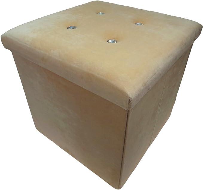Folding Seat Foot Stool Large Bench Storage Box Crushed Velvet Diamante Ottoman