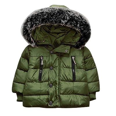 Fullfun 1-5T Little Boy Girl Winter Warm Hooded Zipper Jacket Outwears Coat