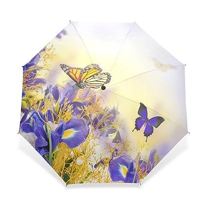 YOUZHA Paraguas Mariposa Creativa con Flor Tres Paraguas ...