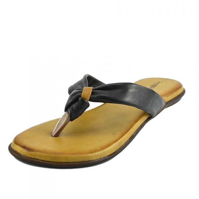 Kick Footwear - Damen Sandale mit Echt Leder Strand Flip Flops Sandalen Leder Schuhe - UK 7 / EU 40, Red F931