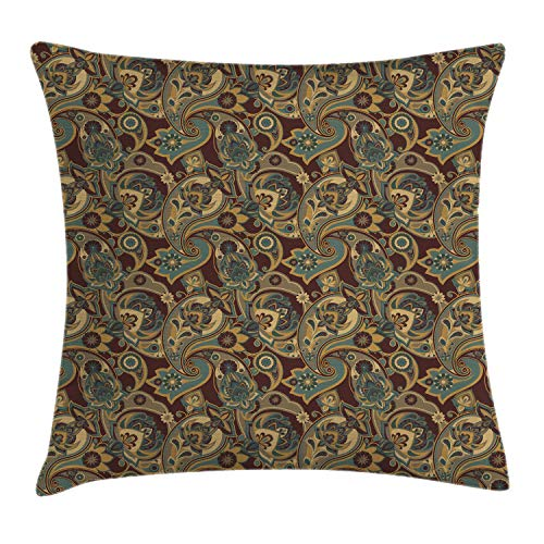Ambesonne Paisley Throw Pillow Cushion Cover, Iranian Hippie Themed Ancient Textured Floral Ornament Persian Artwork, Decorative Square Accent Pillow Case, 18 X 18 Inches, Sand Brown Chocolate