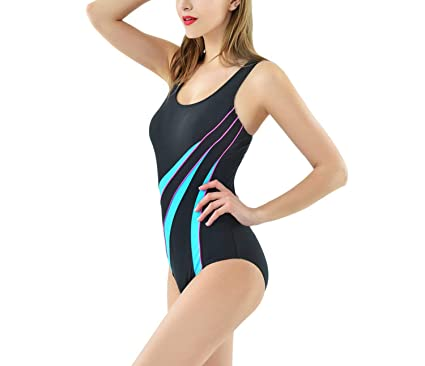 3792168f41b77 COOL-JULY Swimming Suits One Piece Swimsuit Training Swimwear Splice Back Bathing  Suits,01