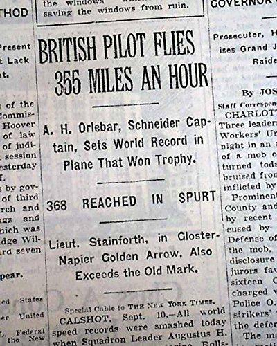 British Pilot AUGUSTUS ORLEBAR Breaks World Airplane Speed Record 1929 Newspaper NEW YORK TIMES, September 11, - Orlebar
