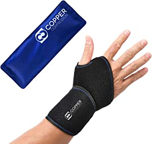 Copper Compression Wrist Ice Pack Wrap. Rapid Hot + Cold Relief Wrist Support Sleeve. Heat + Icing Reusable Fit Therapy Compress Brace. Tendonitis, Carpal Tunnel, Arthritis, Sprained Wrists, Hand Pain