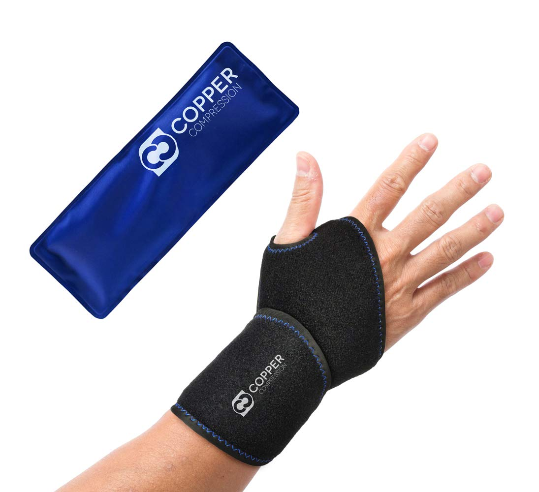Copper Compression Wrist Ice Pack Wrap. Hot + Cold Wrist Support Sleeve. Heat + Icing Reusable Therapy Compress Brace for Tendonitis, Carpal Tunnel, Arthritis, Sprained Wrists, Hand Pain, Computer by Copper Compression