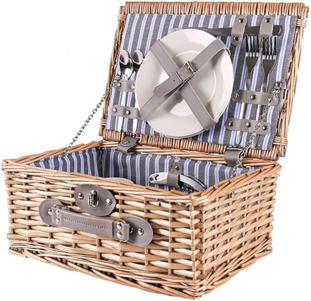 K-P-H ピクニックバスケット保持バスケット屋外籐ピクニックバスケットは、ポータブル大容量の収納ボックスを収容し (Size : Without picnic mat)