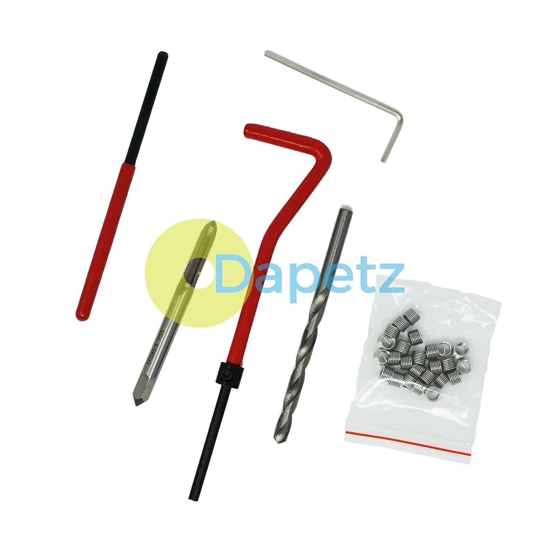Daptez Neuf 25 Pi/èces Pi/èce Kit de filetage r/éparation insert M5 x 0.8 x 6.7mm helicoil compatible