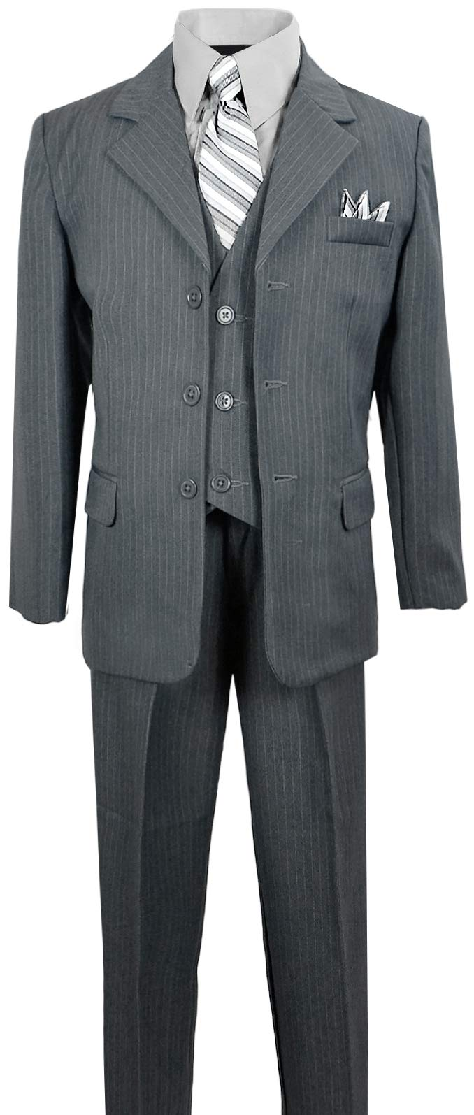 Boys Pinstripe Suit in Grey with Matching Tie Size 8