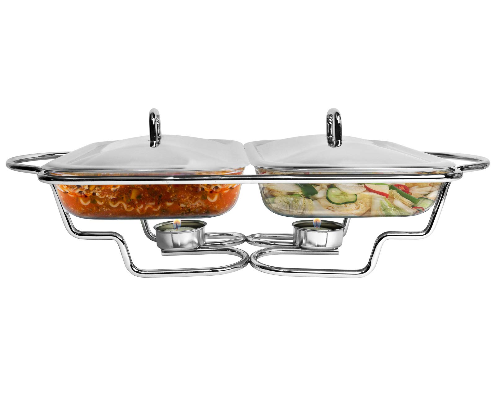 Galashield Buffet Server and Warming Tray Stainless Steel with 2 Glass Dishes Food Warmer Chafing (1.5-Quart Each tray)
