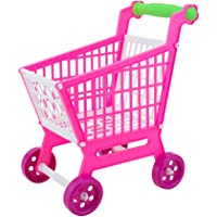 Baoblae Mini Plastic Children Shopping Basket Hand Trolley Cart for Kids Developmental Pretend Role Play Toy Playset