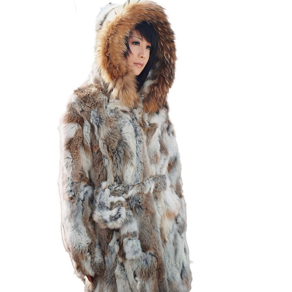 Fur Story Women's Long Real Rex Rabbit Fur Coat with Raccoon Fur Hood Full Sleeve US 8 (Nyellow) by Furstory