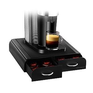 "Mind Reader VUETRYAC-BLK-AC""Anchor""Coffee Pod Storage Drawer for Tassimo T-Discs,Vertuoline Nespresso Capsules- Black"