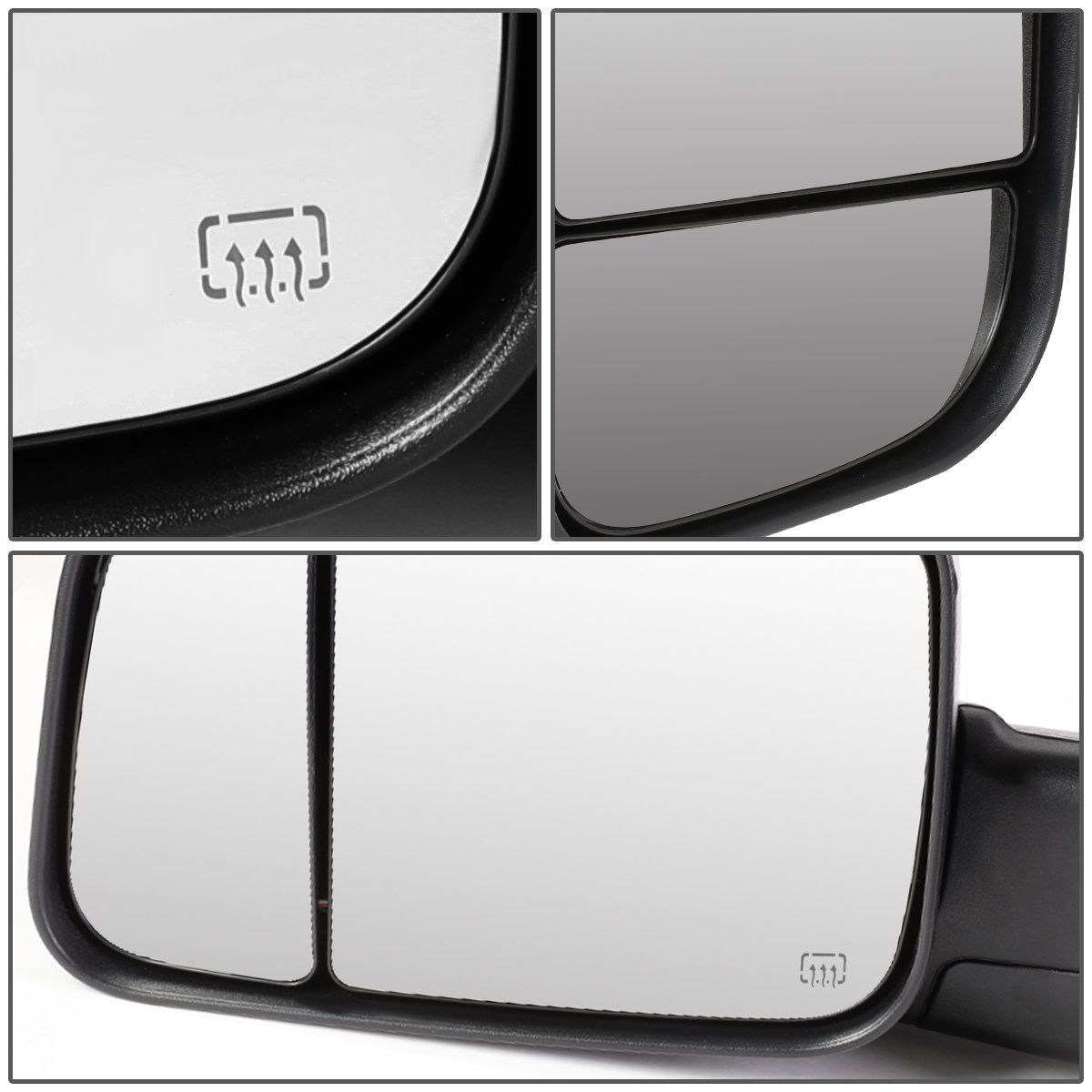 DNA MOTORING TWM-040-T888-BK Pair PoweredHeatedPuddle Light Towing Mirrors 02-09 Dodge RAM