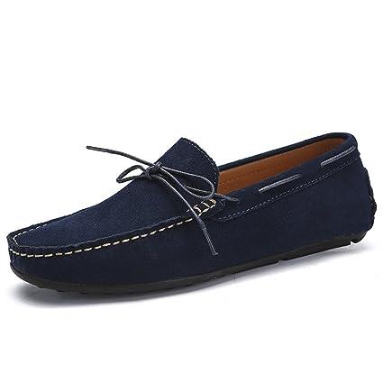 Xiazhi-shoes, Mocasines de conducción de los Hombres Gamuza de Cuero Genuino Penny Mocasines Suela de Goma Sole Boat Zapatos de Confort, (Color : Armada, ...