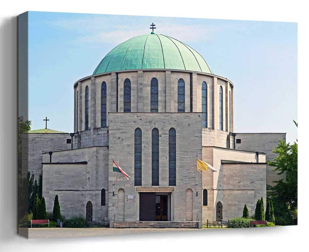 Wall Art Canvas Print Home Decor (20x14 inches)- Mohacs Southern Hungary Cathedral Serbian Or