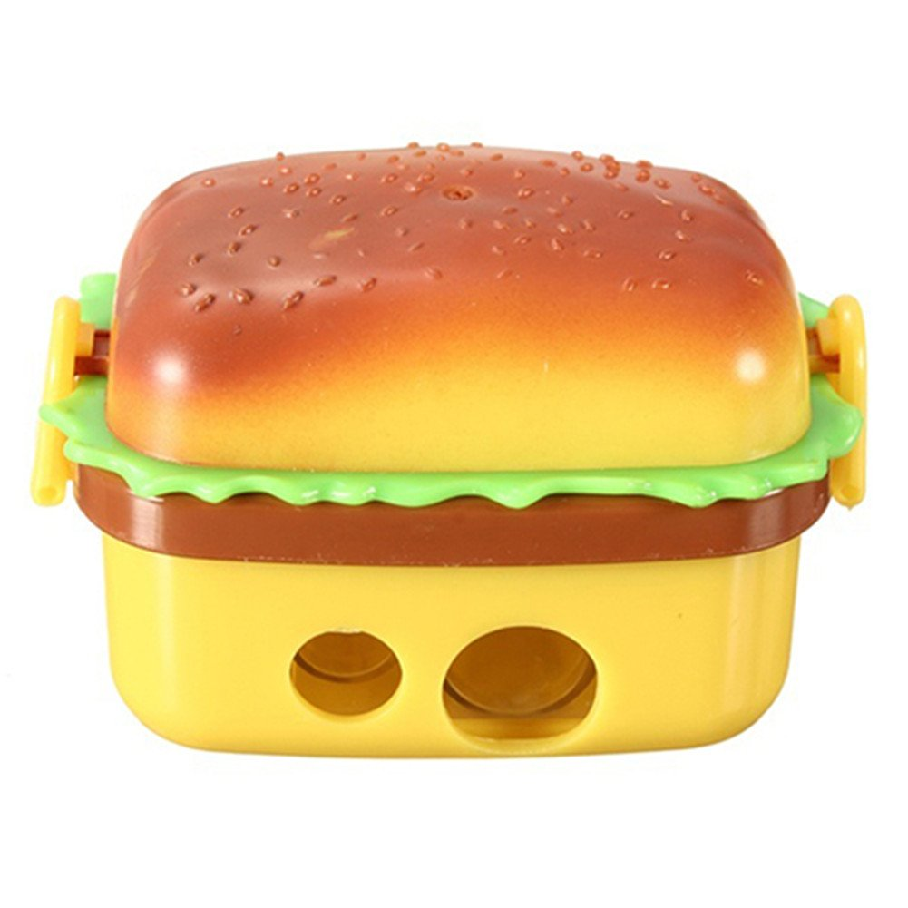 1Pc Cute Hamburger Pencil Sharpener with Two Rubbers Erasers Student Stationery