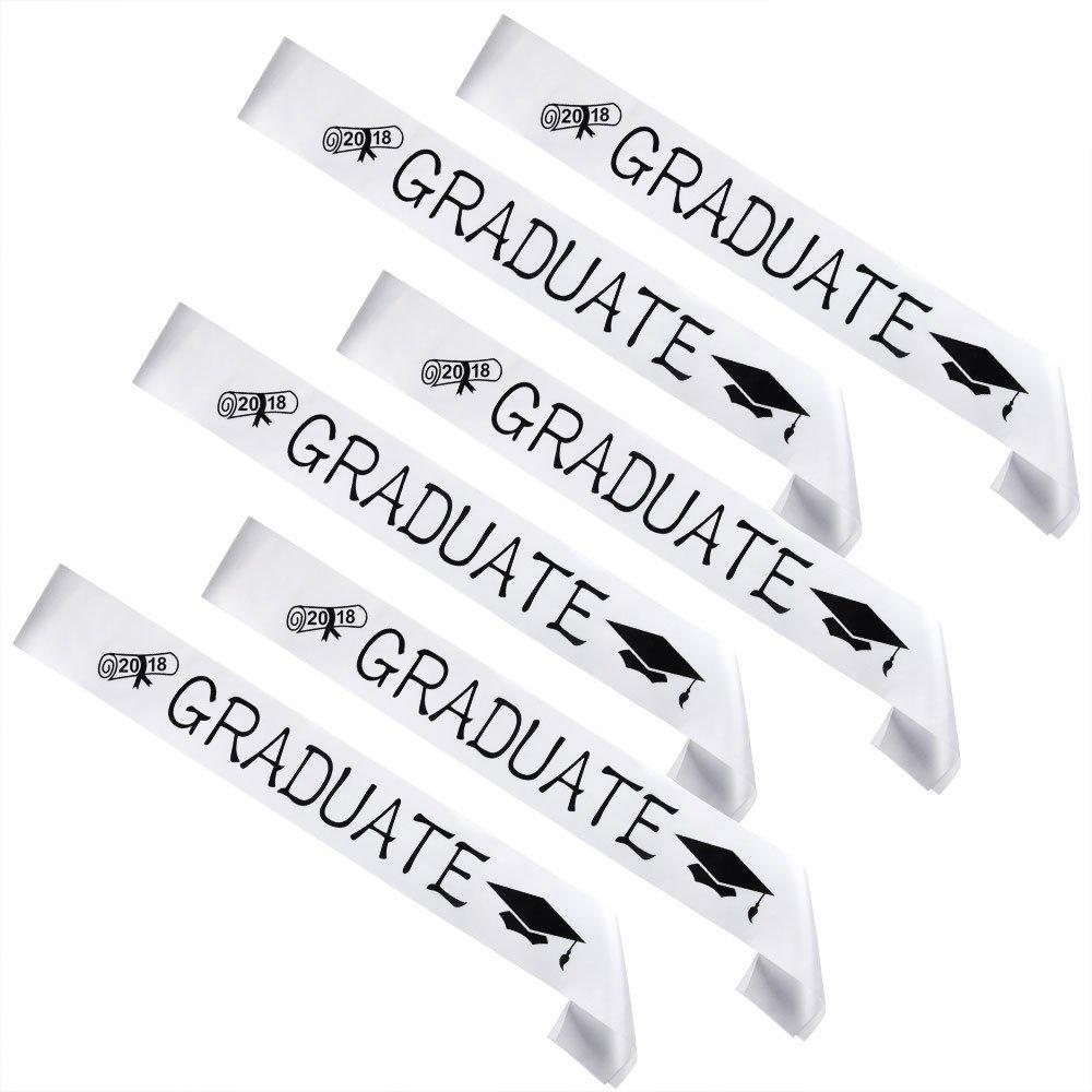FEPITO 6 Pack Graduation Sash White Unisex Satin Sash Prom Graduation Celebration Party Supplies Decorations Seniors High School College Funny Graduation Gift Idea for Boy or Girl
