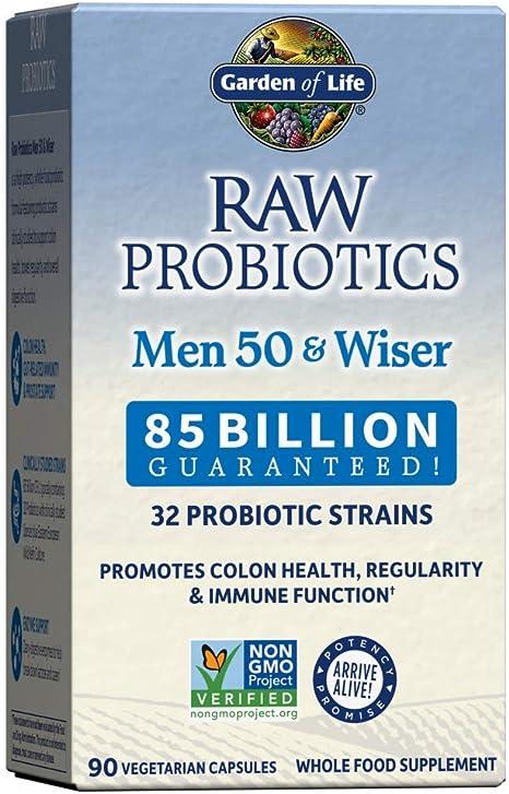 Garden of Life - Homens Probióticos RAW 50 e Wiser 85 Bilhões de UFC - 90 Cápsulas vegetarianas