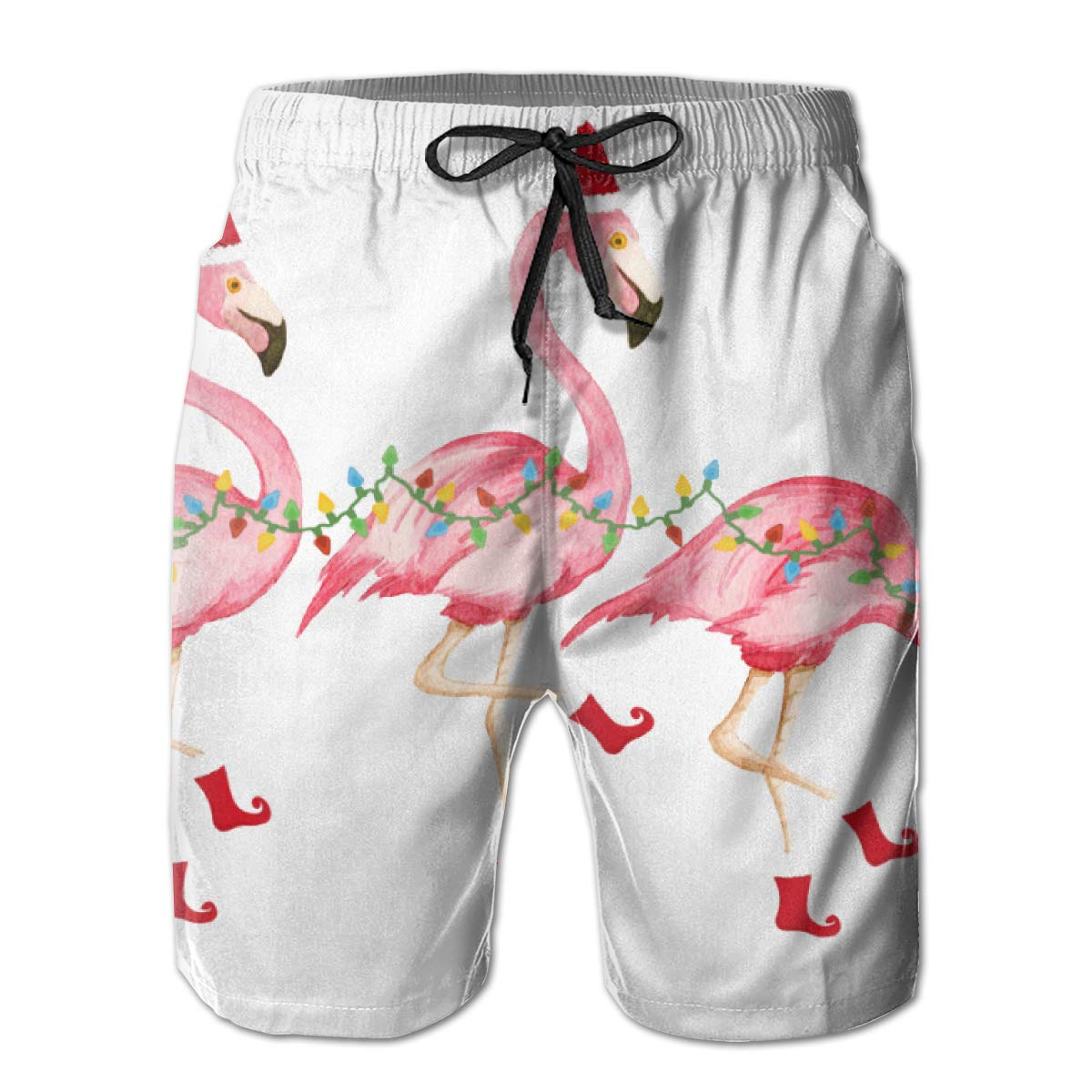 Comfortable Board Shorts with Pockets Mens 100/% Polyester Three Flamingos Beachwear