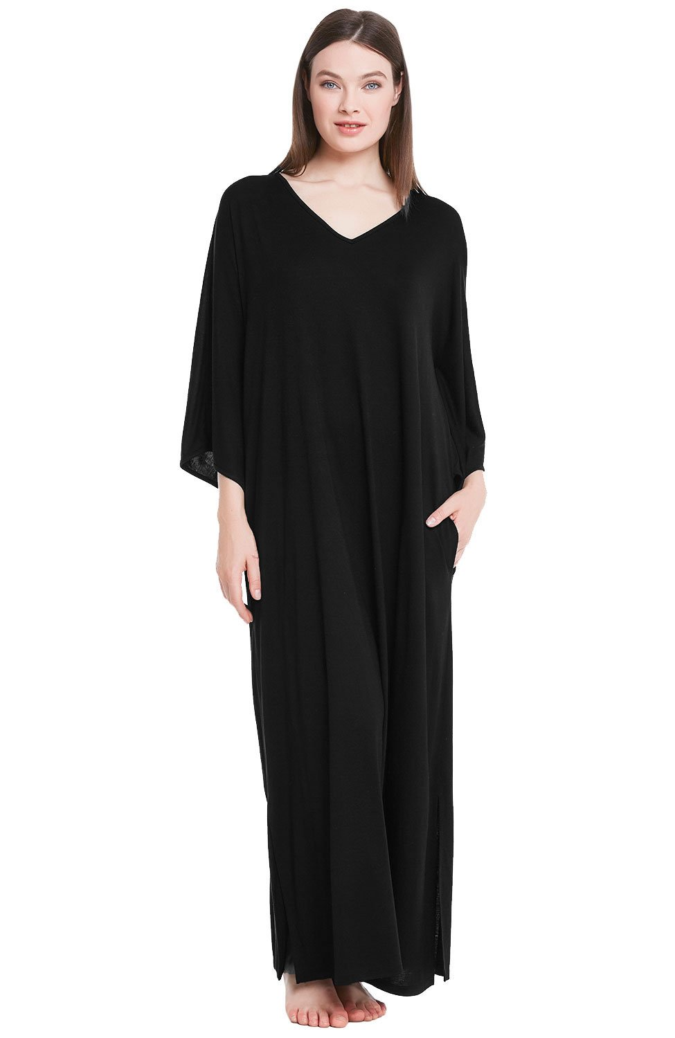 Alexander Del Rossa Womens Modal Knit Nightgown, Oversized Loose Fit Sleep Gown, X-Large Black (A0411BLKXL)