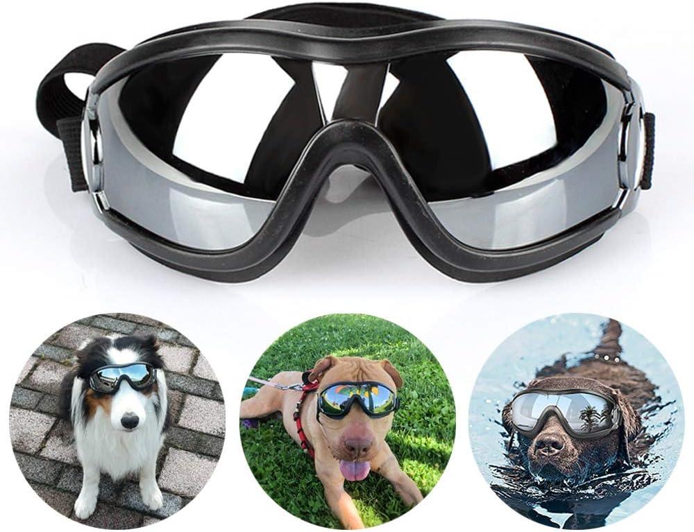 TVMALL Gafas de Sol para Mascotas Gafas Anti-Ultravioleta para Perros Gafas Protectoras para Correas Ajustables para el Hombro Adecuado para Perros Grandes y medianos Actividades al Aire Libre