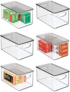 mDesign Plastic Stackable Office Storage Box Container with Handles, Lid for Home Office to Hold Gel Pens, Erasers, Tape, Pens, Pencils, Markers, Notepads, Highlighters, 6 Pack - Clear/Smoke Gray
