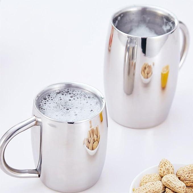 Isenretail Juegos de té, Acero Inoxidable Termo Jarra de Cerveza, Taza de té/Cerveza/café/latté/la Leche, Diseño de Doble Pared con 400 ML de Gran ...